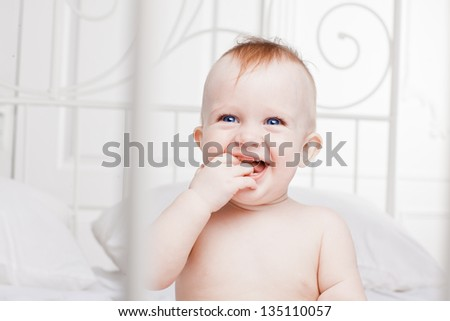 laughing  happy baby - stock photo