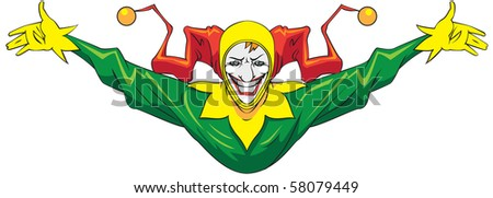 Laughing joker in a green suit. - stock photo