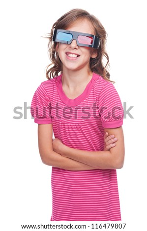 laughing little girl in 3d glasses. isolated on white background - stock photo