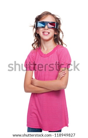 laughing little girl in stereo glasses. isolated on white background - stock photo
