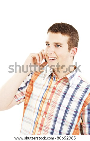 Laughing Man on Phone - stock photo