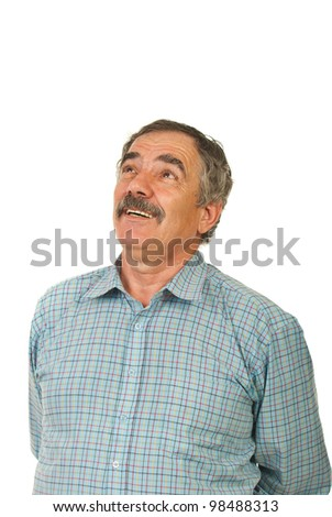 Laughing mature business man looking up to copy space isolated on white background - stock photo