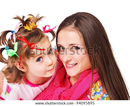 Laughing mother and preschool girl embracing - stock photo