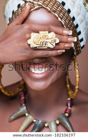 Laughing native African woman  - stock photo