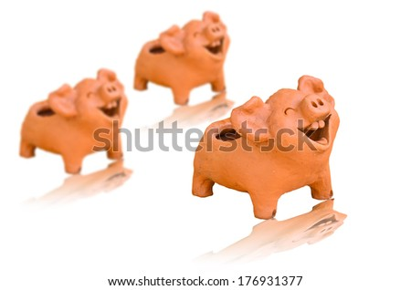Laughing pig statue  - stock photo