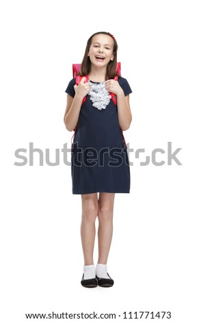 Laughing schoolgirl with the briefcase, isolated, white background - stock photo