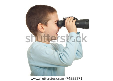 Laughing small boy with binocular isolated on white background - stock photo