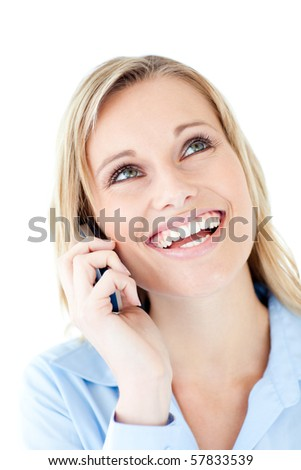 Laughing woman calling against white background - stock photo