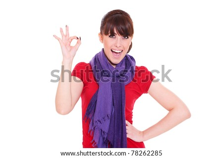 laughing woman showing the ok sign isolated over white background - stock photo