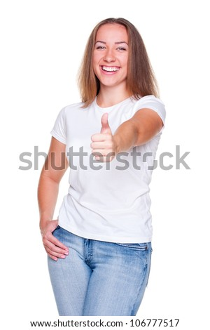 laughing woman showing thumbs up. studio shot. isolated on white background - stock photo