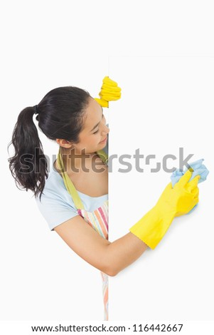 Laughing woman who washes the white plate from the side - stock photo