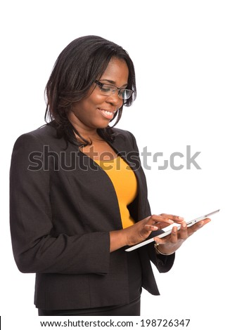 Laughing Young African American Female Businessman Holding a Touch Pad Tablet PC on Isolated White Background - stock photo