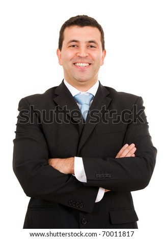 Laughing young business man portrait isolated on white - stock photo