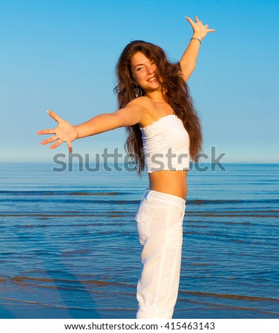 Laughter Outdoor Woman  - stock photo