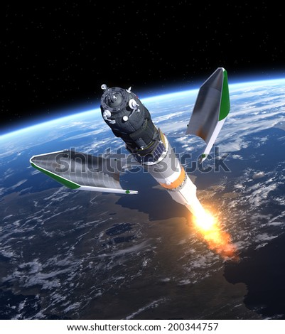 Launch Of Cargo Spacecraft. 3D Scene. Elements of this image furnished by NASA.  - stock photo