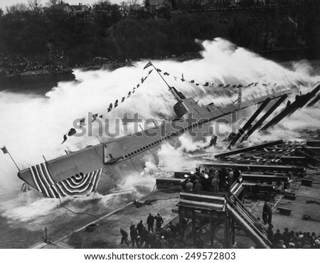 Launching of the submarine, the USS Robalo, at Manitowoc, Wisconsin, May 9, 1943. She was sunk on her third WW2 patrol in Palawan Island, Philippines, on July 22, 1944. - stock photo