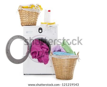 Laundry Basket and washing machine - stock photo