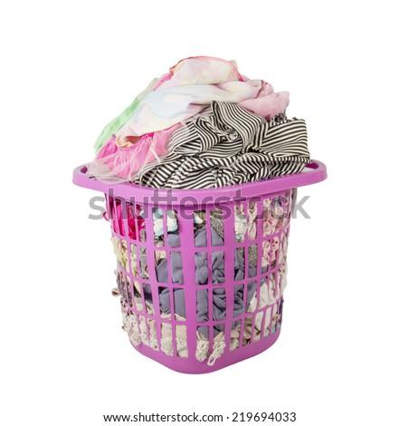 Laundry basket clothes Isolated on white background - stock photo