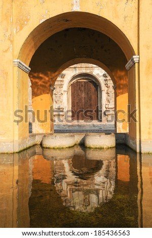 Laundry fountain at Antigua on Guatemala - stock photo