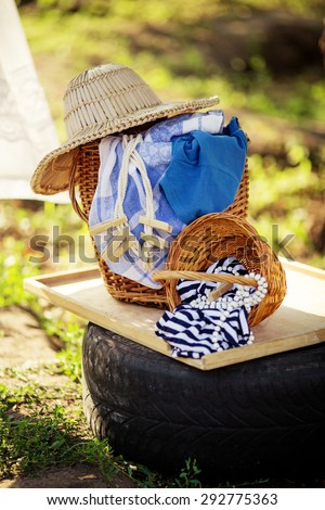laundry in the meadow on a sunny summer day - stock photo