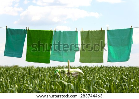 Laundry line with towels in spring field - stock photo