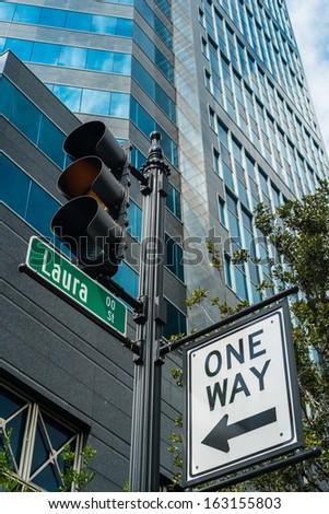 Laura street in downtown Jacksonville, Florida. - stock photo