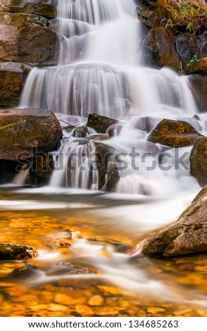 Laurel Falls, a popular waterfall in Great Smoky Mountains National Park, Tennessee, USA - stock photo