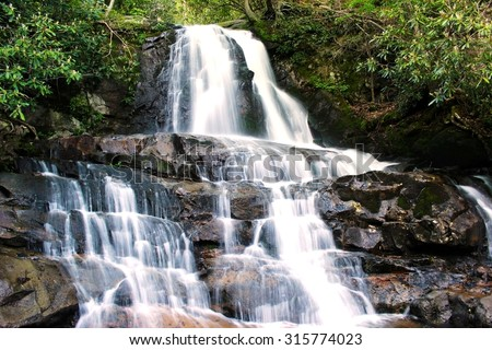 Laurel Falls in Smoky Mountains National Park - stock photo