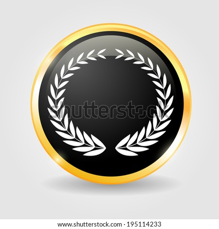 Laurel Wreaths on the Black shiny button with metallic elements, design for website. - stock photo