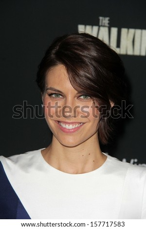 "Lauren Cohan at ""The Walking Dead"" Season Four Premiere, AMC Universal Citywalk Stadium 19,  Universal City, CA 10-03-13 - stock photo"