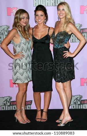 Lauren Conrad with Audrina Patridge and Whitney Port in the press room at the 2007 MTV Video Music Awards. The Palms Hotel And Casino, Las Vegas, NV. 09-09-07 - stock photo