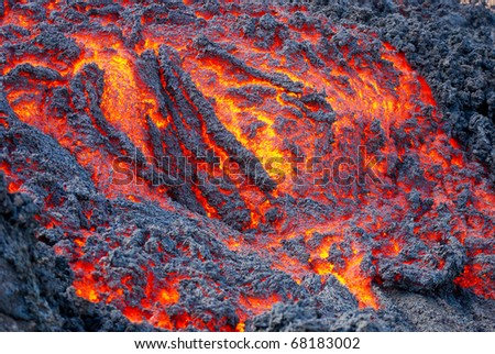 Lava Flowing in Guatemala - stock photo
