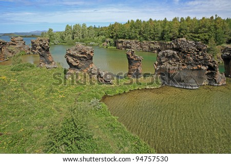 Lava formations at Kalfaströnd at Myvatn in northern Iceland - stock photo