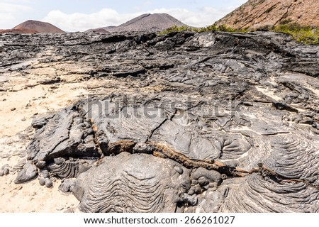 Lava on the Santiago Island, Galapagos Islands, Ecuador - stock photo