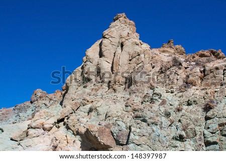 Lava rocks near to Teide peak on Tenerife. Teide National Park. Canary islands. Spain - stock photo