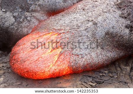 Lava tongue with a basaltic composition in Hawaii. Kilauea volcano, Pu'u O'o vent. - stock photo