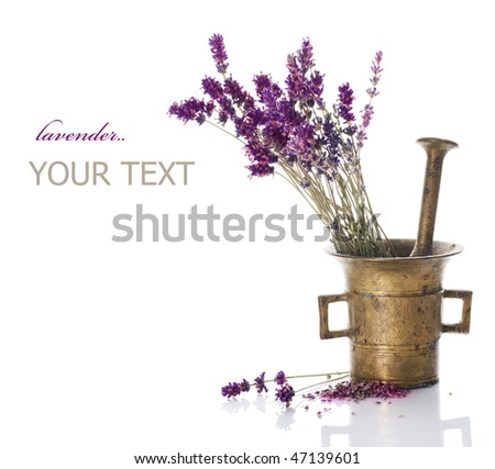 Lavender and antique Mortar.Natural cosmetics concept - stock photo