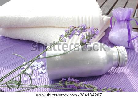 Lavender aromatic beauty treatment - stock photo