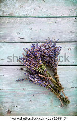 Lavender background. Lavender flower bunch on wood. Floral background - stock photo