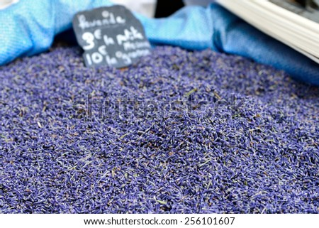 Lavender blossoms at the rural market,  Provence, France. Small depth of field. - stock photo