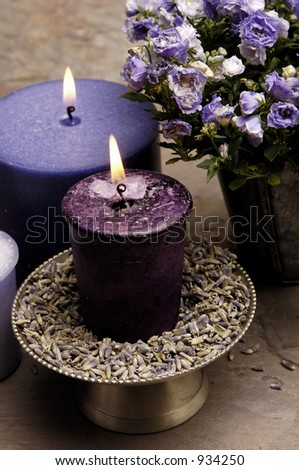 Lavender Candles - stock photo