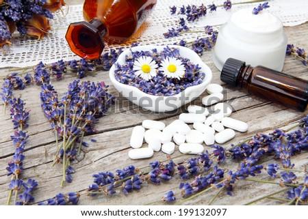 Lavender Cosmetics and medicine - stock photo