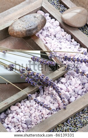 Lavender cosmetics: soap and bath salt. Still life. - stock photo