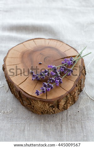 Lavender Flowers on the wood background. Aromatherapy - stock photo