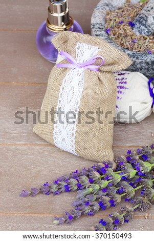 Lavender fresh flowers and dry in pouch - stock photo