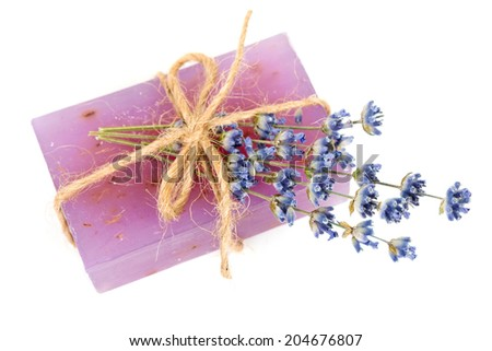 Lavender handmade soap with lavender flower - stock photo