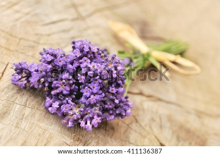 Lavender. Lavender -  bunch of lavender flowers on a wooden background. Lavender, lavender, lavender flower. Lavender bunch. Lavender aromatic. Lavender. Lavender. Lavender herb. Copy space.  - stock photo