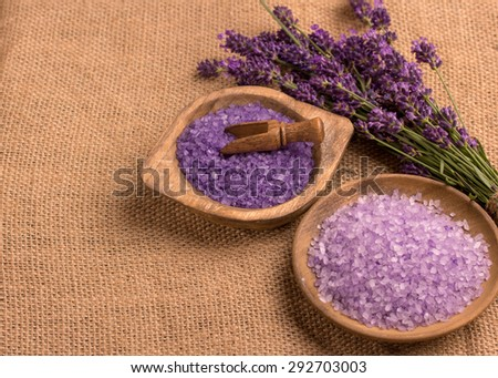 lavender oil and bath salts with lavender flower  - stock photo