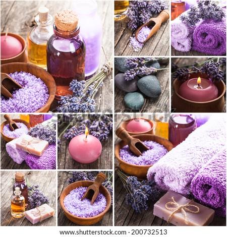 Lavender spa - essential oil, seasalt, violet towels and handmade soap - stock photo
