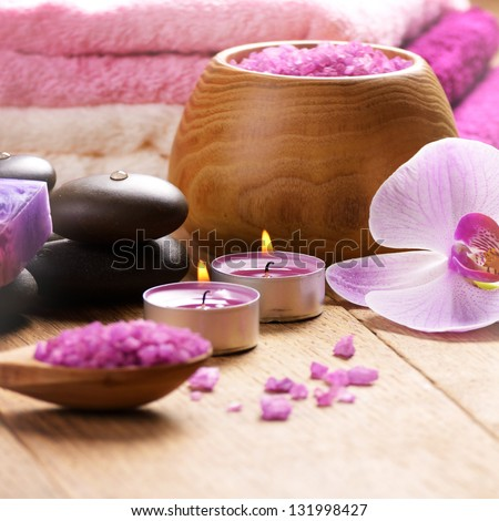 Lavender spa set of salt stones and candle - stock photo